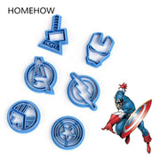 6PCS/Lot American Captain Biscuit Cookie Cutter Set Kitchen Accessories Cartoon Figure Captain Shape Cookie Cutting Mold
