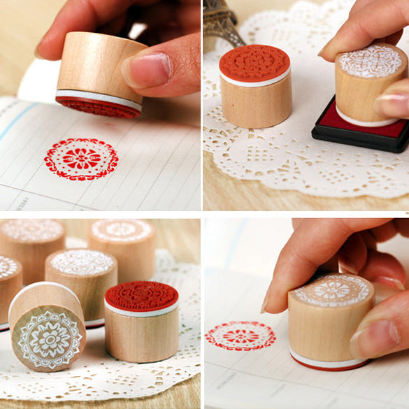 6pcs/SET Assorted Retro Vintage Floral Flower Pattern Round Wooden Rubber Stamp For ScrapbookDIY 1OCQ Christmas Gift