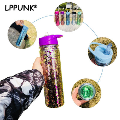 750ML Double Wall Plastic My Water Bottle Sequins Gold Stardust Outdoor Travel Tea Cup Portable Handle Straw Sports Kettle