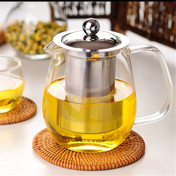 750ml Heat-resistant Glass Flower Teapot Glass Tea Set Stainless Steel Filter Can Be Heated Pu'er Teapot Thick Transparent Glass