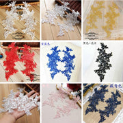 8 Pieces/4 Pairs Black Blue White Lace Applique Flower Sequin Lace Fabric For Garment Wedding Accessories Cloth DIY Craft