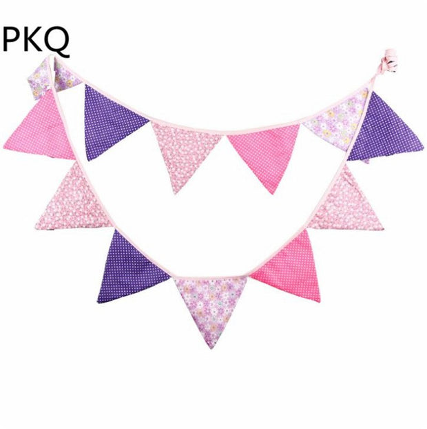 9 Styles Cotton Flags Garland Floral Bunting Banners Kids