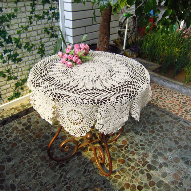 90cm Round Tablecloth Hand Made Crochet Vintage Knit Retro