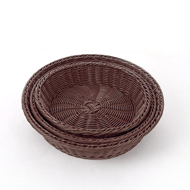 A2525 Hand-woven Storage Basket Round Vegetable And Fruit Basket Rattan Plastic Home Drain Drying Groceries Organizer