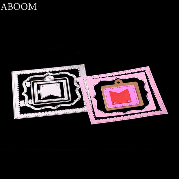 ABOOM Fresh Frame Flower Metal Die Carbon Steel Die Cut Embossing Folder Square Scrapbooking Album Photo Decoration Cutting Dies