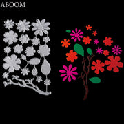 ABOOM Hot Flowers Tree Metal Carbon Steel Cutting Dies Embossing Folder Silver Cut Die Scrapbooking Album Photo Paper Card Mold