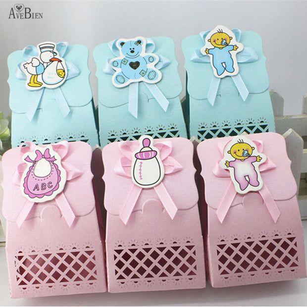 AVEBIEN Cute Candy Box Baby Birthday Event Party Supplies Decoration Boy And Girl Paper Baptism Kid Favors Gift Sweet Bag 24pcs