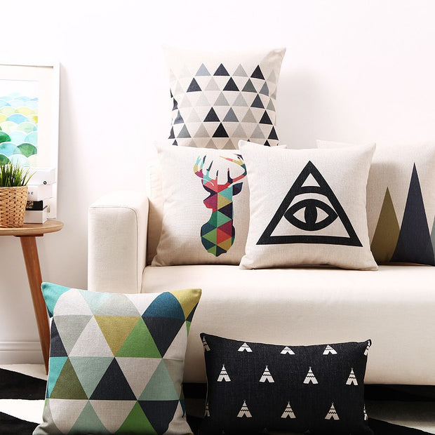 Abstract Geometric Cotton Linen Pillowcase Nordic Simple Waist Pillow Cushions Decorative Pillow Home Decor Sofa Throw Pillows