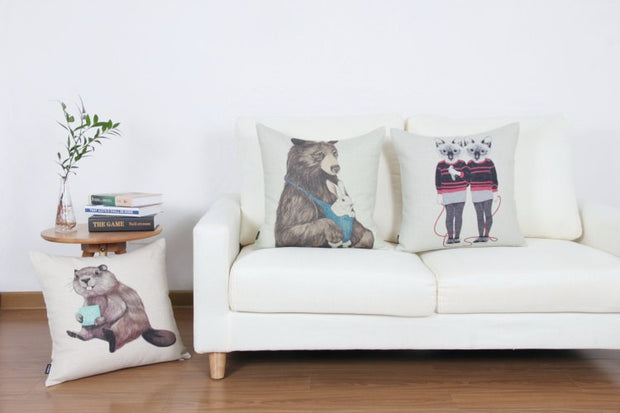 American Country Pillowcase Cartoon Squirrel Printed Square Cushion Decorative Pillow Home Decor Throw Pillow 45*45 Almofadas