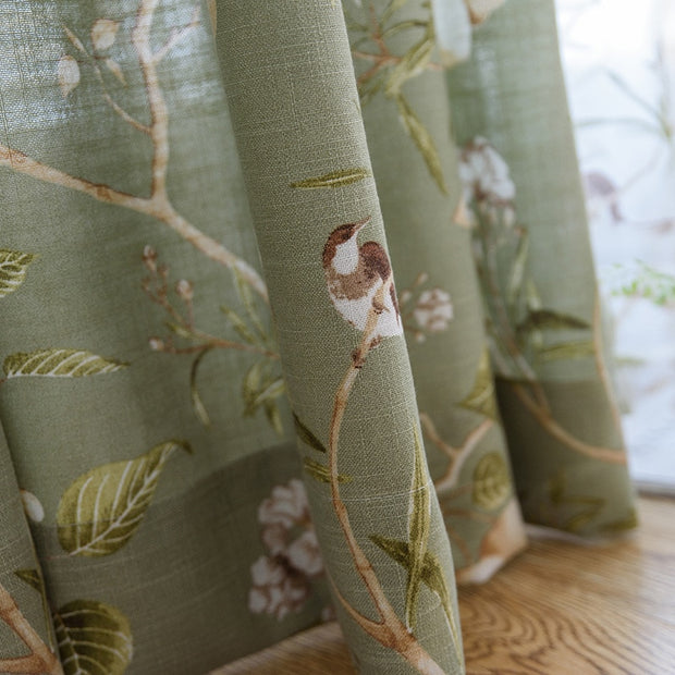 American Rustic Style Curtains Linen Green Color Window Curtain For Living Room Birds Printed Drapes Home Decor