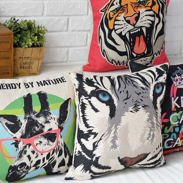 American Style Pop Art Graffiti Pillowcase Tiger And Zebra Printed Cushion Decorative Pillow Cushions Home Decor Throw Pillow