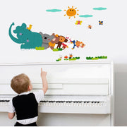 Animal Relay Cartoon Wall Stickers For Kids Room Living Room Creative Decoration Stickers Home Decor