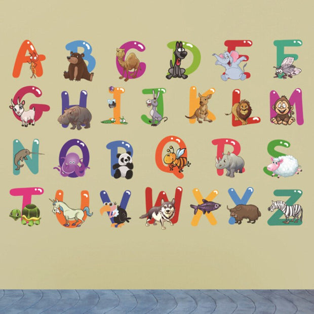 Animals Mural Wall Stickers Alphabet Letters For Kids Rooms Removable Nursery Bedroom Wall Decals School Classroom Decor