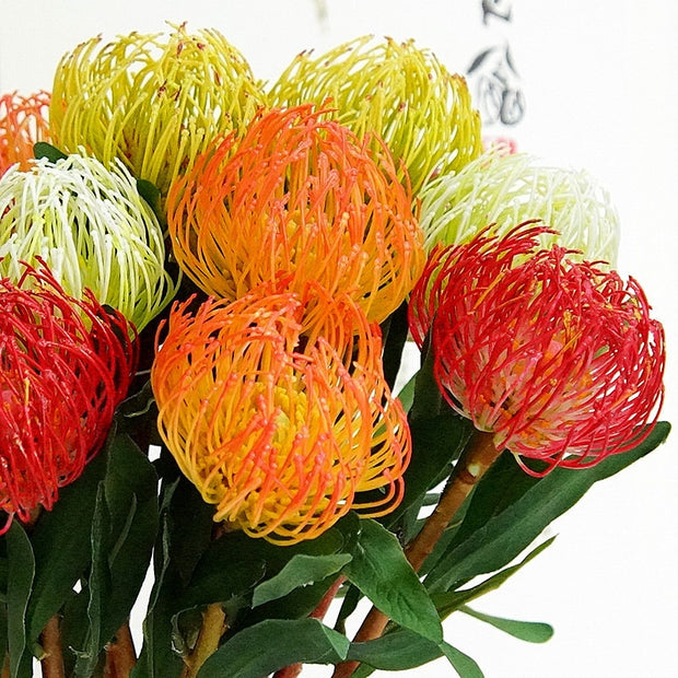 Artificial Silk Flowers Simulation Gold Needle Emperor Fireworks Plastic Fake Flower Home Wedding Decoration Photography Floral