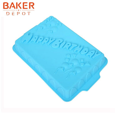 BAKER DEPOT Rectangle Silicone Mold For Birthday Cake Happy Birthday Big Cake Molds Bakeware Cake Decorating CDSM-715