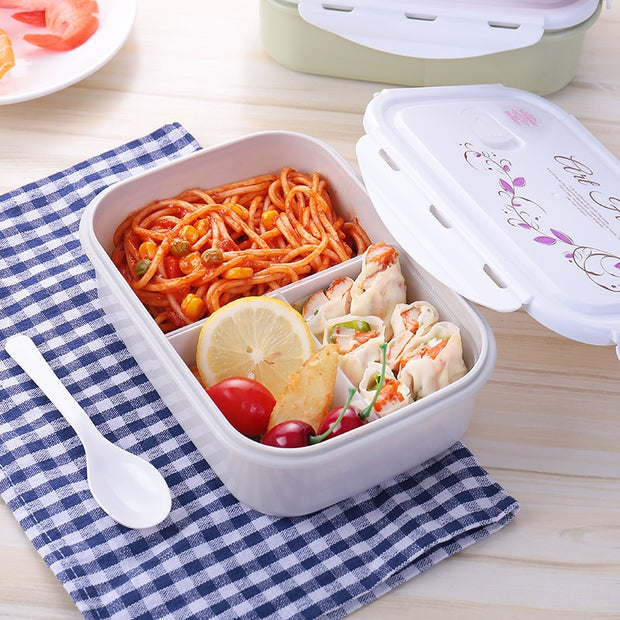 Baispo Microwavable 1100ml Lunch Box Eco-Friendly Bento Box Food Storage Container With Compartments For Kids Women Girl Gift