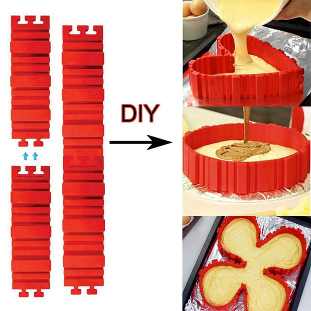 Baking Moulds Tools 4 Pcs/set Flexible DIY Silicone Cake Mold Square Flower Heart Round Cake Pan