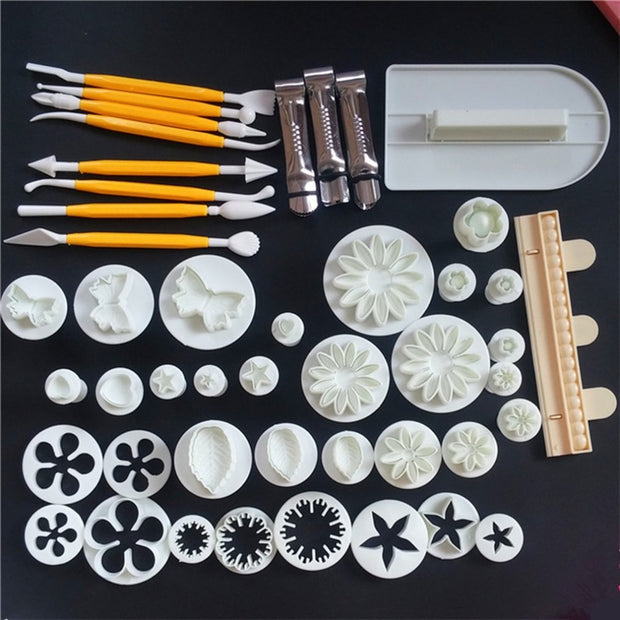 Baking Tools 11styles 47pieces/set Of Fondant Cake Mold Set Cake Biscuit Embossed Printing Mold