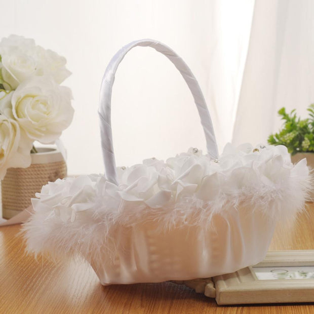 Bamboo Braided Portable Wedding Flower Basket Western Wedding Lace Satin Wedding Flower Girl Flower Scattering Basket Romantic