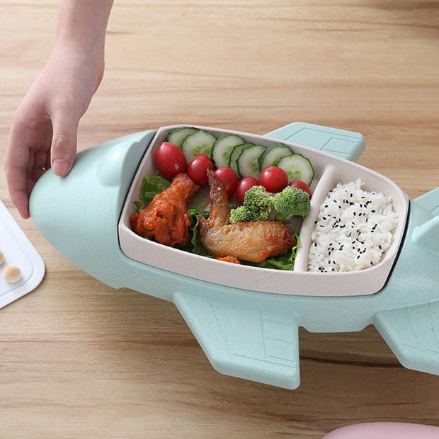 Bamboo Fiber Environmental Protection Tableware Health Children Cartoon Airplane Nordic Dinnerware Food Container Picnic Portabl