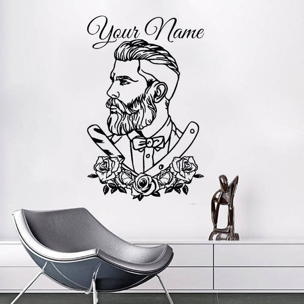 Barber Shop Wall Decal Tattoo Hipster Personalized Name Wall Sticker Man Salon Decals Barber Shop Removable Window Poster ST018