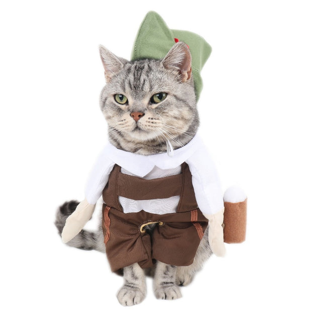 Barman Beer Waiter Cat Costume With Hat Cosplay Suit For Pets Funny Cat Clothes Clothing Halloween Costume Vetement Chat S-XL