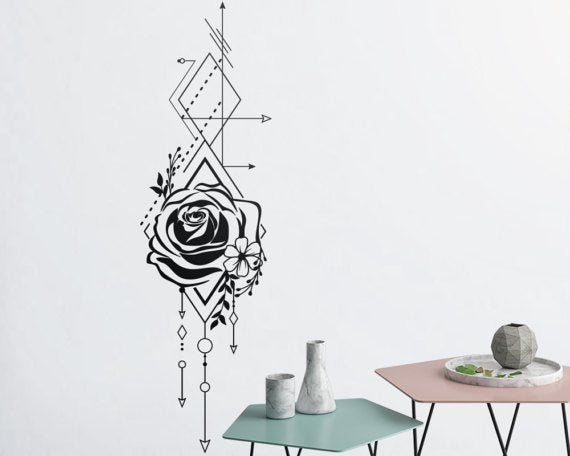 Beautiful Geometric Rose And Arrows Wall Decals Unique Vinyl Wall Deca Home Decor