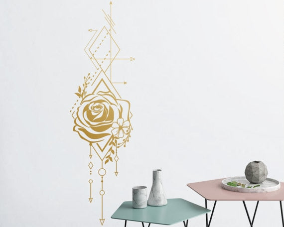 Beautiful Geometric Rose And Arrows Wall Decals Unique Vinyl Wall Decal  Girl Bedroom Rose Floral Wallpaper Interior Decor LA995