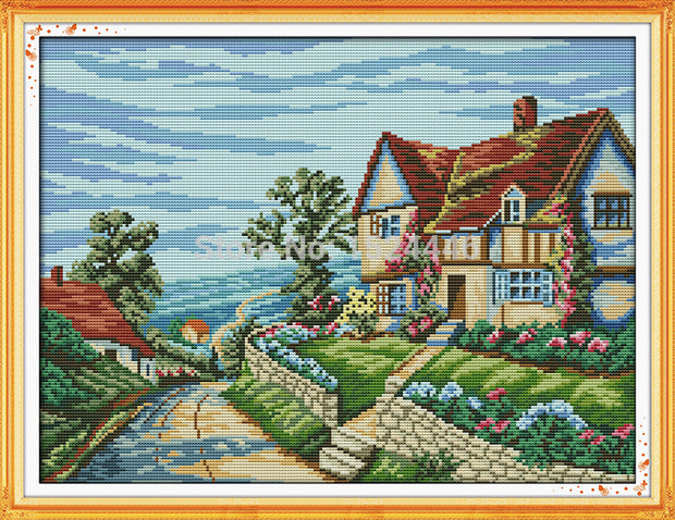 Beautiful Village Scenery Mansion Painting Counted Print On Canvas