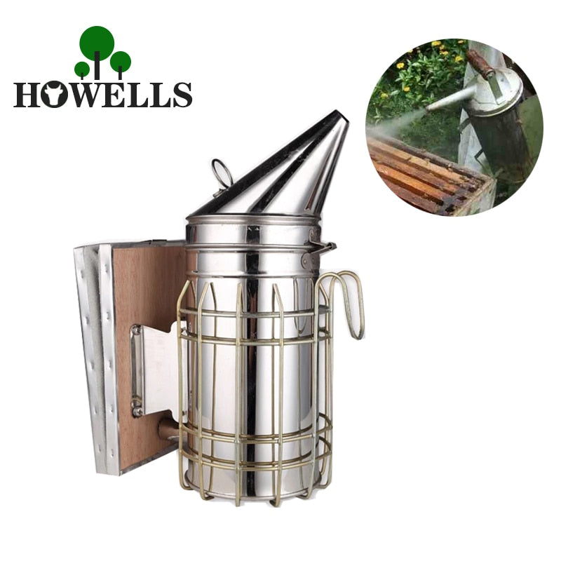Stainless Steel Bee Hive Smoker with Heat Shield Board Beekeeping Tool