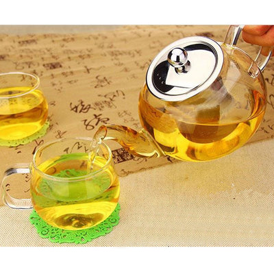 Behogar 1000ml Clear Glass Teapot High Temperature Resistant Loose Leaf Flower Tea Pot With Stainless Steel Infuser Strainer Lid