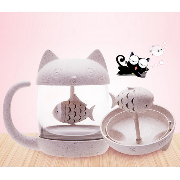 Behogar 250ml 8oz Cute Novelty Glass Tea Mug Coffee Cup Water Bottle Infuser Strainer Filter Christmas Birthday Gift