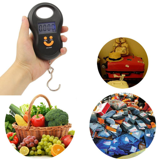 Black Portable Mini 50 Kg/5 G LED Electronic Fishing Hook Digital Luggage Scale Weight Scale Hanging Pocket Kitchen Tools