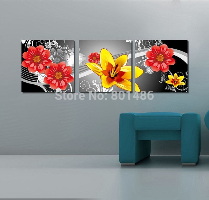 Black White And Red 3 Pieces Panel Flower Paintings Canvas Print Wall Art  Painting For Home Decor Floral Dropshipping