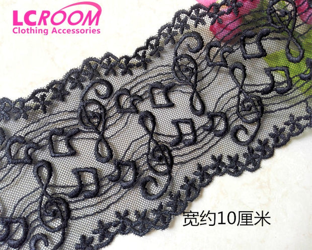 Black musical note Butterfly Ivory tulle embroidery Lace Fabric Dress S0915