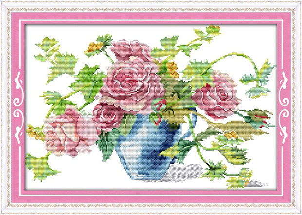 Blossom Roses Flower Cotton Canvas DMC Cross Stitch Kits 100% Accurate Printed Embroidery DIY Handmade Needle Wall Home Decor