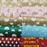 CLEAR STOCK 1SET(10PCS )25X21cm Alisa Glitter Cuero Sintetico Glitter Leather For DIY Hair Accessroies Craft STB32