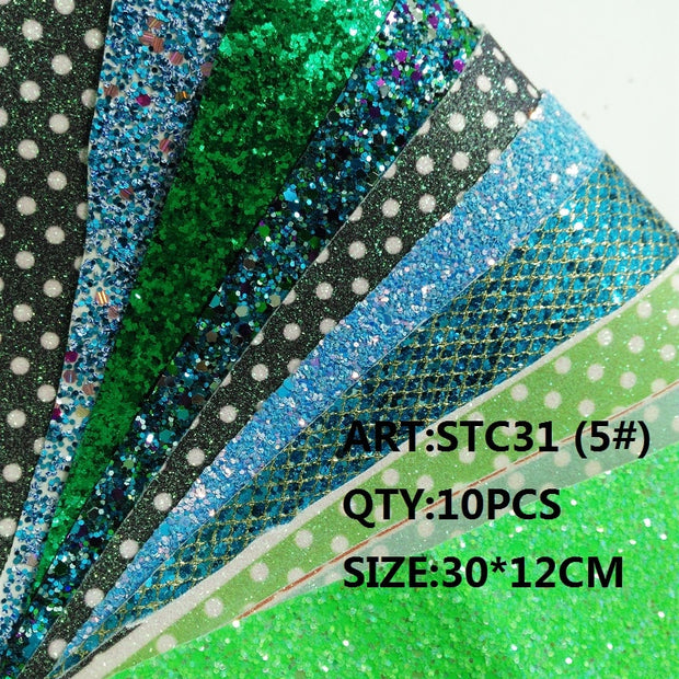 CLEAR STOCK 1SET(10PCS )30X12cm Alisa Glitter Cuero Sintetico Glitter Leather For DIY Hair Accessroies Craft STC31
