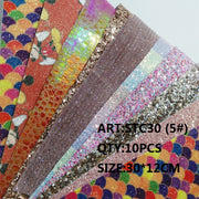 CLEAR STOCK 1SET(10PCS )30X12cm Alisa Glitter Cuero Sintetico Glitter Leather For DIY Hair Accessroies Craft STC30