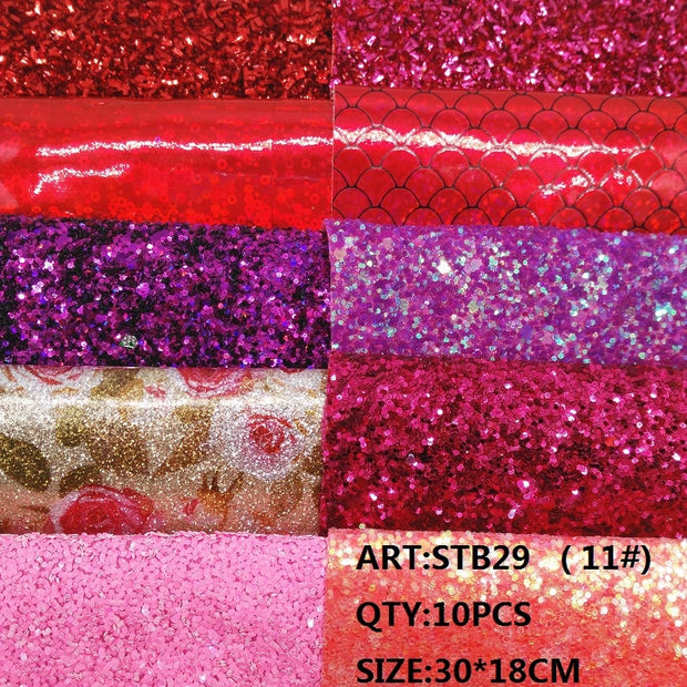 CLEAR STOCK 1SET(10PCS ) 30X18cm Alisa Glitter Cuero Sintetico Chunky Glitter Leather For DIY Hair Accessroies Craft STB29