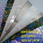 CLEAR STOCK 1SET(10PCS )30X18cm Alisa Glitter Cuero Sintetico Glitter Leather For DIY Hair Accessroies Craft STC43