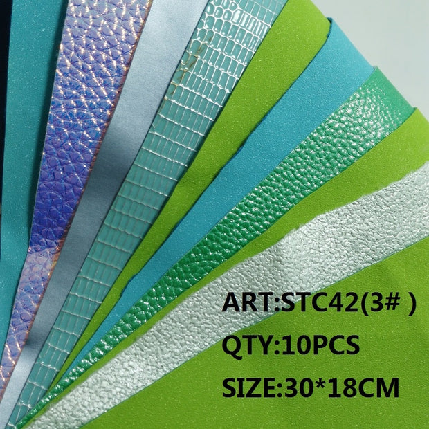 CLEAR STOCK 1SET(10PCS )30X18cm Alisa Glitter Cuero Sintetico Glitter Leather For DIY Hair Accessroies Craft STC42