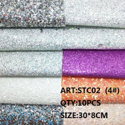 CLEAR STOCK 1SET(10PCS ) 30X8cm Alisa Glitter Cuero Sintetico Chunky Glitter Leather For DIY Hair Accessroies Craft STC02
