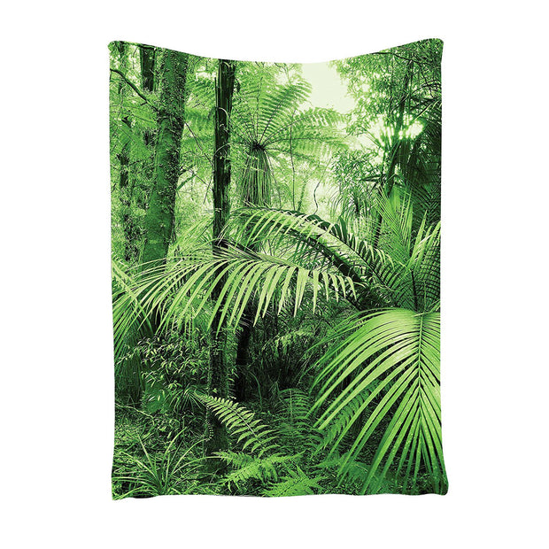 CNIM Hot TaTropical Rain Forest Green Tapestry , Palm Trees And Exotic Plants In Jungle With Wild Nature Zen Theme Art Decorat