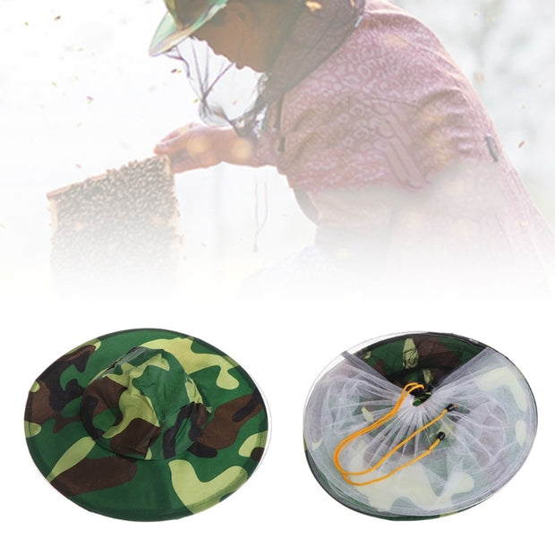 Camouflage Net Head Face Protector Cap Insect Outdoor Camping Bee Hat Beekeeping Camping