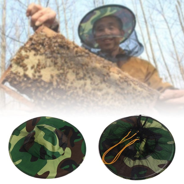 Camouflage Net Head Protector Cap Mosquitoes Outdoor Bee Hat Beekeeping