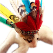 Cap For Cat Hat For French Bulldog Indian Feather Hat Indian Headdress Handmade Head Exotic Style Pets Products Drop Shipping