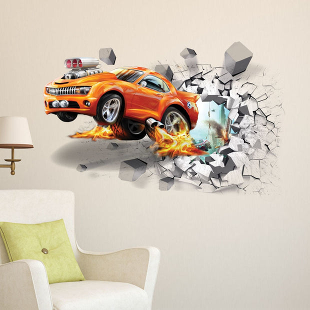 Cartoon 3D Through The Brick Pixar Car Wall Sticker For Kids Rooms Children Wall Art Decals Home Decor Boy's Gift