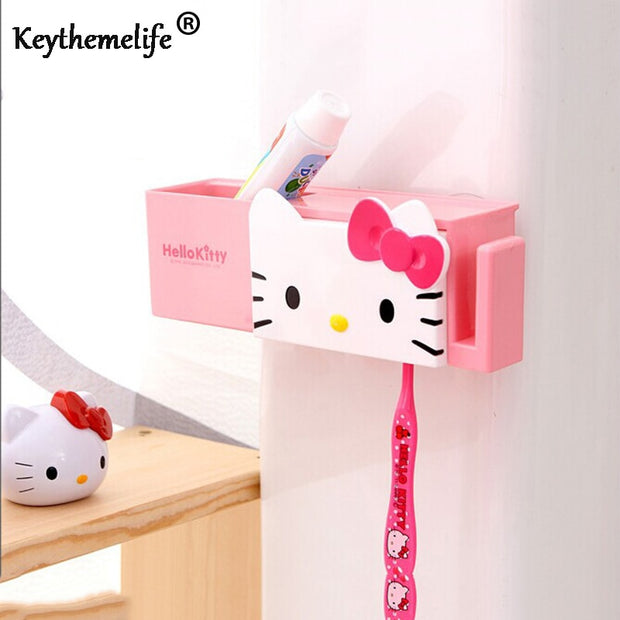 Cartoon Hello Kitty Sucker Toothbrush Holder Suction Hooks Bathroom Accessories Set Wall Bathroom Eco-Friendly D