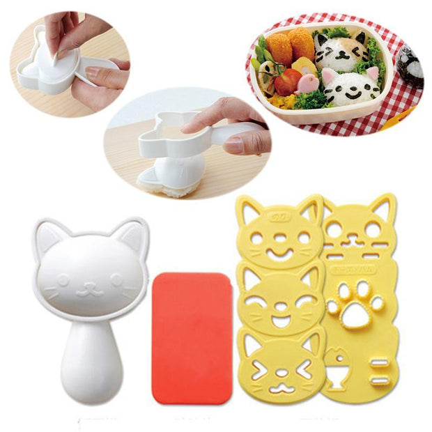Cat Shape Rice Cutter Onigiri Maker Mold Rice Mould Sushi Egg Chocolate Molds DIY Kitchen Tool Set